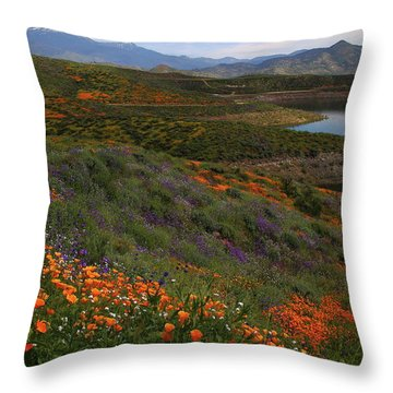Throw Pillow featuring the photograph Spring Wildflowers At Diamond Lake In California by Jetson Nguyen