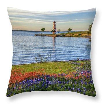 Spring Wildflowers Of Lake Buchanan Throw Pillow