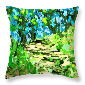 Spring Wood Path  Throw Pillow