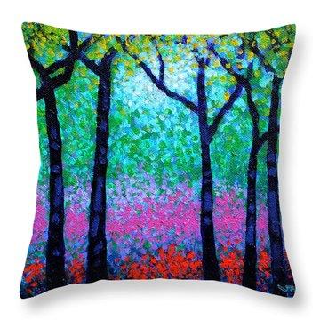 Spring Woodland Throw Pillow