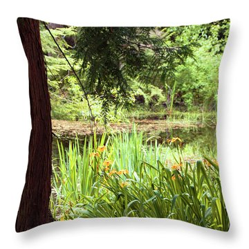 Spring Woodland Throw Pillow by Victoria Harrington