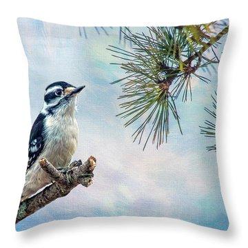 Spring Woodpecker Throw Pillow
