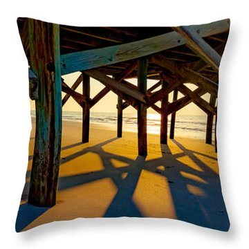 Springmaid Pier At Sunrise Throw Pillow