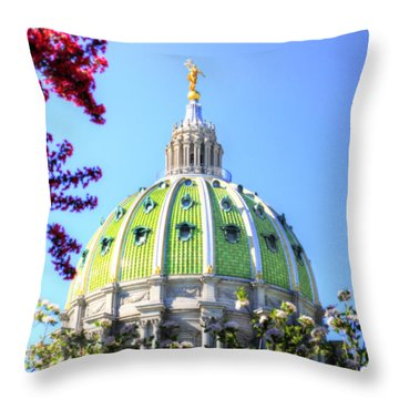 Throw Pillow featuring the photograph Spring's Arrival At The Pennsylvania Capitol by Shelley Neff