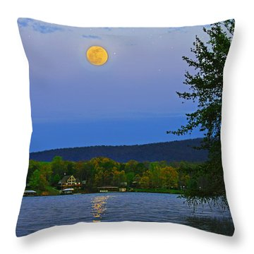 Spring's First Full Moon Smith Mountain Lake Throw Pillow