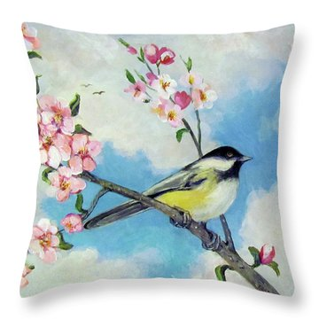 Throw Pillow featuring the painting Spring's Promise by Donna Tucker