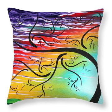 Springs Song By Madart Throw Pillow by Megan Duncanson