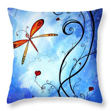 Springs Sweet Song Original Madart Painting Throw Pillow by Megan Duncanson