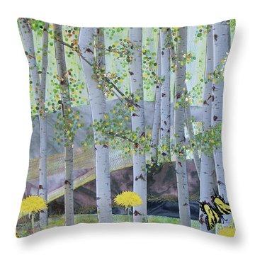 Springtime Aspens Throw Pillow