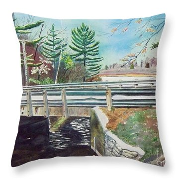 Throw Pillow featuring the painting Springtime At Bass Lake Bridge by LeAnne Sowa