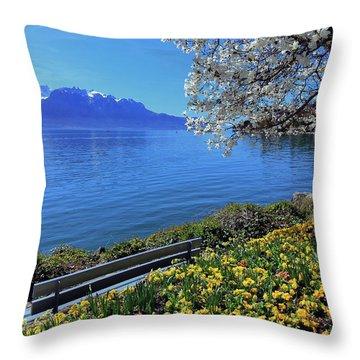 Springtime At Geneva Or Leman Lake, Montreux, Switzerland Throw Pillow by Elenarts - Elena Duvernay photo