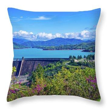 Springtime At Shasta Lake Dam Throw Pillow