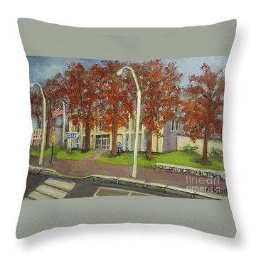 Springtime At Waltham Police Station Throw Pillow