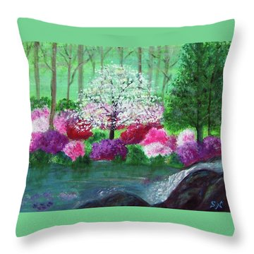 Throw Pillow featuring the painting Springtime Azaleas In Georgia by Sonya Nancy Capling-Bacle