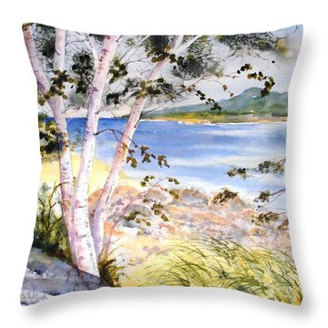 Springtime Birches Throw Pillow