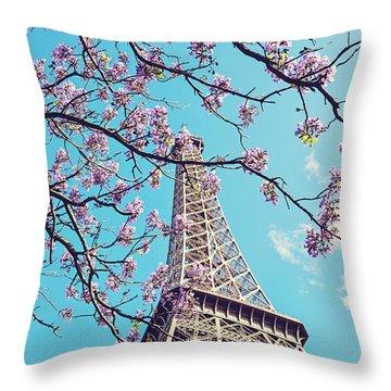 Springtime In Paris - Eiffel Tower Photograph Throw Pillow by Melanie Alexandra Price