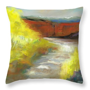 Throw Pillow featuring the painting Springtime In The Rockies by Frances Marino