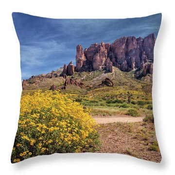 Springtime In The Superstition Mountains Throw Pillow