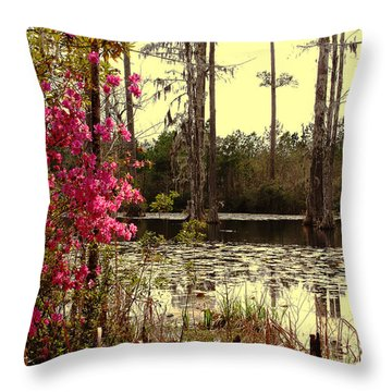 Springtime In The Swamp Throw Pillow by Susanne Van Hulst