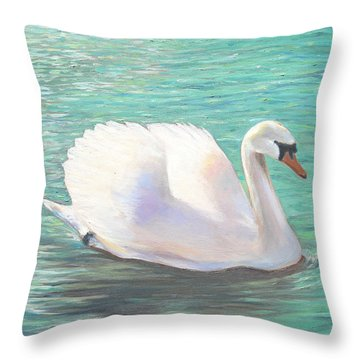 Throw Pillow featuring the painting Springtime On The River by Elizabeth Lock