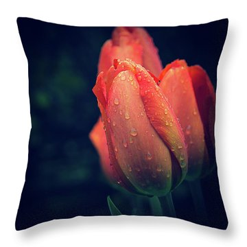 Throw Pillow featuring the photograph Springtime Orange Tulips With Drops by Julie Palencia