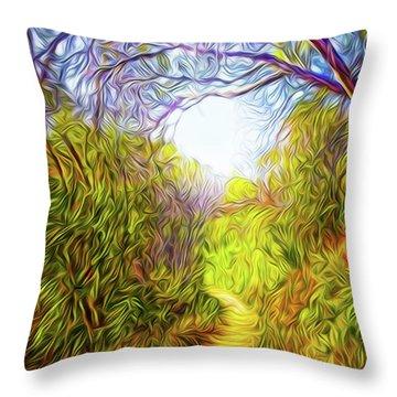 Springtime Pathway Discoveries Throw Pillow