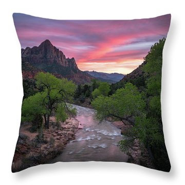Springtime Sunset At Zion National Park Throw Pillow