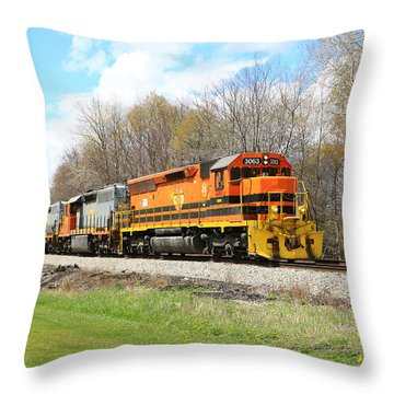 Springtime Train Throw Pillow
