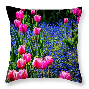 Springtime Tulips Throw Pillow by Olivier Le Queinec