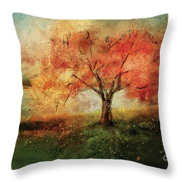 Throw Pillow featuring the digital art Sprinkled With Spring by Lois Bryan