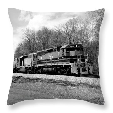 Sprintime Train In Black And White Throw Pillow