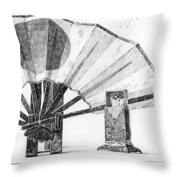 Spirit Of Japan. Fan And Matchbox Throw Pillow