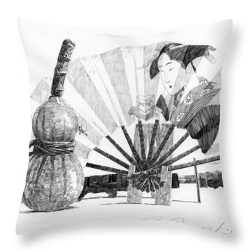 Spirit Of Japan. Pumpkin Jar And Fan Throw Pillow
