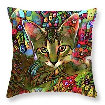 Sprocket The Tabby Kitten Throw Pillow