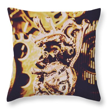 Sprockets And Clockwork Hearts Throw Pillow