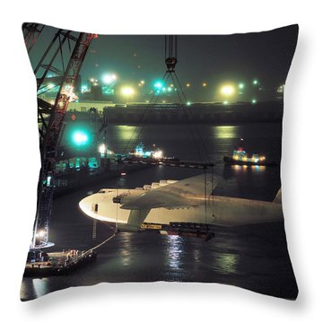 Spruce Goose Hanging From Crane February 10 1982 Throw Pillow by Brian Lockett