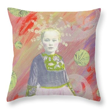 Throw Pillow featuring the mixed media Spunky Got Funky by Desiree Paquette