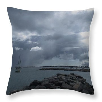 Squall In Simpson Bay St Maarten Throw Pillow