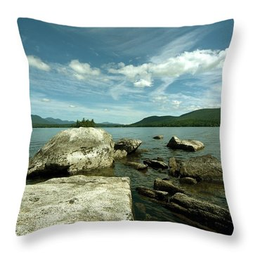 Squam Lake On The Rocks Throw Pillow by Rick Frost