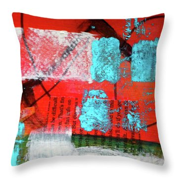 Throw Pillow featuring the mixed media Square Collage No. 10 by Nancy Merkle