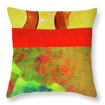 Throw Pillow featuring the mixed media Square Collage No. 11 by Nancy Merkle