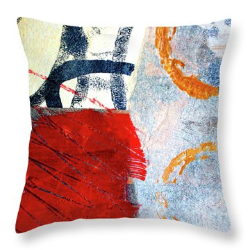 Throw Pillow featuring the painting Square Collage No. 3 by Nancy Merkle