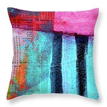 Throw Pillow featuring the painting Square Collage No 4 by Nancy Merkle