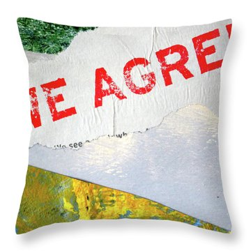Throw Pillow featuring the mixed media Square Collage No. 7 by Nancy Merkle