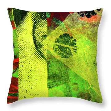 Throw Pillow featuring the mixed media Square Collage No. 8 by Nancy Merkle