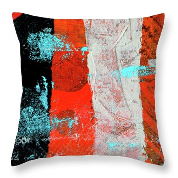 Throw Pillow featuring the mixed media Square Collage No. 9 by Nancy Merkle