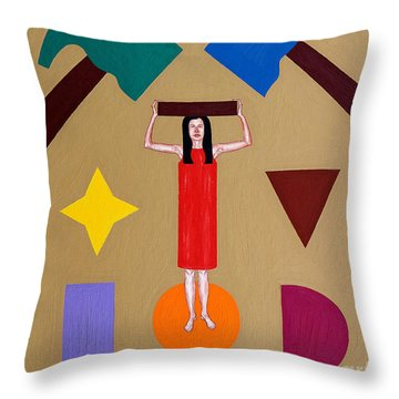Square Peg Round Hole Throw Pillow by Patrick J Murphy