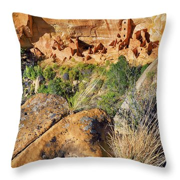 Throw Pillow featuring the photograph Square Tower House At Mesa Verde National Park - Colorado - Pueblo by Jason Politte