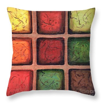 Squared In Bronze Throw Pillow