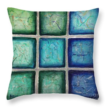 Squared In Silver  Throw Pillow